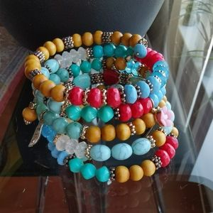 Jewelry - Multicolor spiral bracelet turquoise red brown
